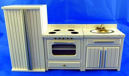 Preisvergleich Produktbild Puppenhaus Miniatur 1:12 Maßstab Holz Apex Küchenmöbel Set Spüle Herd Ofen Kühlschrank