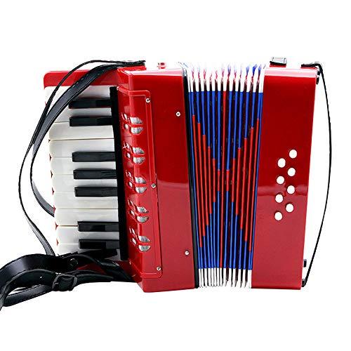 Fdit Socialme-EU Kinder-Akkordeon Spielzeug Didaktisches Spielzeug Rhythmische Mini Akkordeon für Bass 8-17 Tasten für Kinder rot