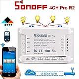 QHJ Digitale Zeitschaltuhr,4CH Pro Channel Remote Smart WiFi Schalter Home Automation Timer (Wie Gezeigt)
