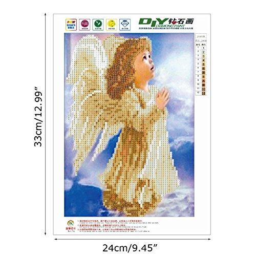 Dabixx 5D DIY Diamant Malerei, Engel 5D DIY Malerei Malen Nach Zahlen Diamanten Stickerei Malerei Kreuzstich Kit DIY Wohnkultur 24 × 33 cm -