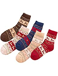 Ladies Girls Winter Chaussettes Chaussettes Chaussures Tricotées Cartoon Deer 5 Pairs UK Size 4-7