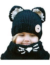 Sombrero Bufanda Bebé,TININNA Otoño Invierno Niños Niñas Lana Punto Mantener Caliente Conjunto Gorros Gorras y Bufanda con Lindo Fox Diseño-Negro