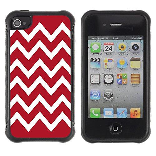 Graphic4You Chevron Muster Harte Hülle Case Tasche Schutzhülle für Apple iPhone 4 und 4S (Marineblau) Rouge