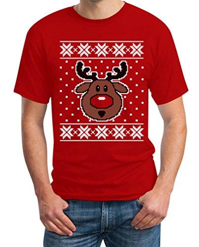 Hässlicher Weihnachtspullover Rudolph Rudolf Rentier T-Shirt Rot