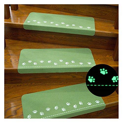 X-Life Teppich Stufenmatten Treppenstufen Stufenschutz für Ihre Treppe, Nacht Luminous Pads, Leuchtende Stock Treppe Teppiche, Anti-Rutsch 55x22cm (Grün-Rechteckig-13 Stück) -
