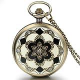JewelryWe Damen Taschenuhr Epoxid Kirschblüte Kettenuhr Analog Quarz Uhr mit
