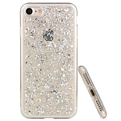gahatoo Blattsilber-Look Softcase für iPhone 7 [Silikonhülle mit Flockendesign] TPU + Glitter