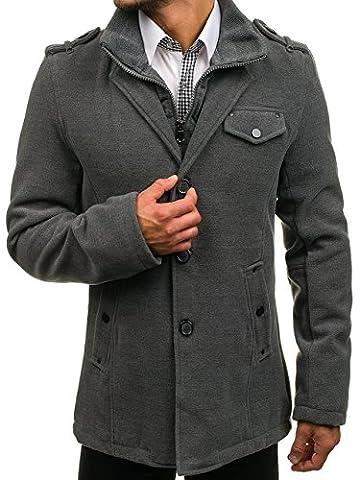 BOLF Herren Mantel Wintermantel Zweireihiger Knöpfbar Lang Coat PPM 8853 Grau M [4D4]
