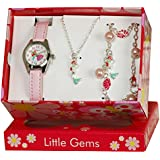 Ravel 'Little Gemz' Mermaid Jewellery Set Girl's Quartz Watch with White Dial Analogue Display and Pink Plastic Strap R2223