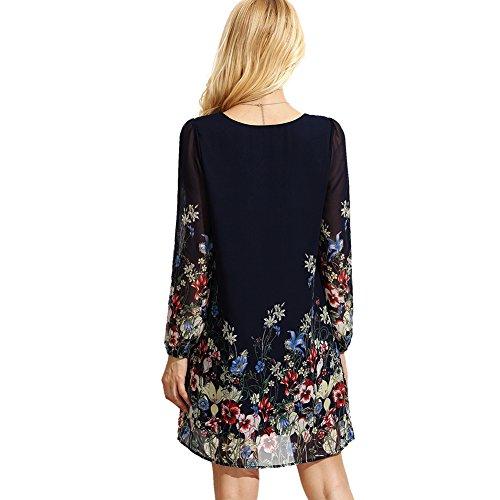 ROMWE Femme Mini Robe Boho top à manches longues Col Rond Fleur Robe Casual Multicouleur 1 Multicouleur 1