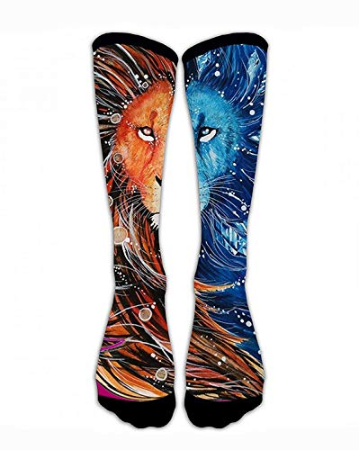 Kotdeqay Compression Socks Fire and Ice Lion Crew Sock Crazy Socks Tube High Socks Personalized Novelty Funny Sports High Stockings for Teen Boys Girls