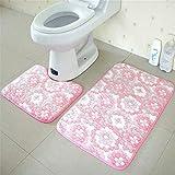 OOFAYWFD Thick Coral Fleece Badezimmer Zweiteilige Badezimmer Anti-Rutsch-Matte WC Zweiteilige Teppich Matte,7