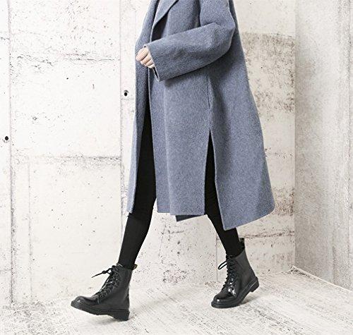 Sgualcito con Stivali Tondi in Pizzo Ispessimento Caldo Stivali da Neve in Cashmere Scarpe da Vento Occidentali UN