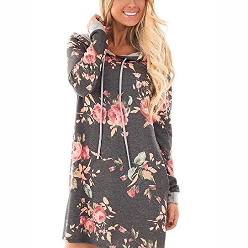 Damen Kleid ,LMMVP Frauen V-Ausschnitt Langarm Blumen Print Party Mini Kleid (L, Gray) (Jersey-kleid Taille Perlen)