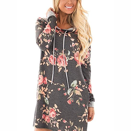 Damen Kleid ,LMMVP Frauen V-Ausschnitt Langarm Blumen Print Party Mini Kleid (XXL, Gray) (Cap Sleeve Tier)