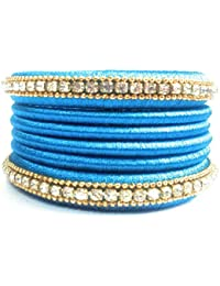 Silk Thread Bangles - Sky Blue Color With Stone Chains