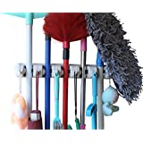 MARZ Mop Holder And Broom Holder, 5 Slot Position With 6 Hooks Garage Storage Holder Up To 11 Tools Wall Mounted, Organize Ideas