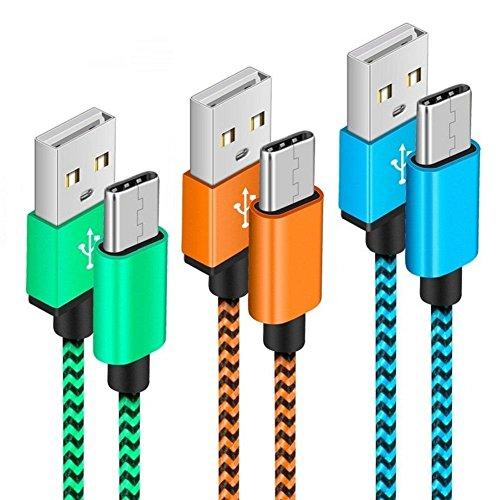 Cable Tipo C [3 Pack] Yosou USB Tipo C Cable Carga 1m Duradero Nylon Carga Rápida y Sincronización para Samsung S9/S8, MacBook Pro 2016, Nintendo Switch, Huawei P9/P10/P20 y más - Azul, Verde, Naranja