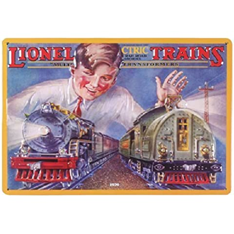 Lionel Boy with Toy Trains Model Railroad Retro Vintage Embossed Tin Sign by Poster Revolution