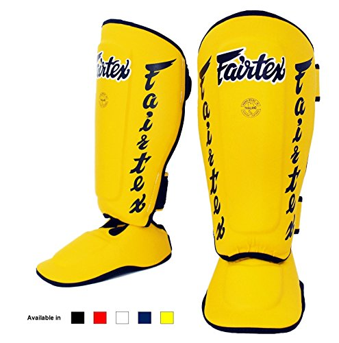 Fairtex Muay Thai Boxing MMA Shin Guards SP7 Twister Detachable In Step Shin Pads Color: Black White Red Blue Yellow Size: Medium Large Xlarge (Yellow, Medium)