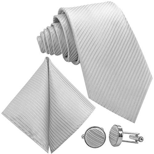 Krawatte Streifen gestreift | Binder Weiss Manschettenknöpfe Einstecktuch | Krawattenset zum Anzug Seide-Optik ()