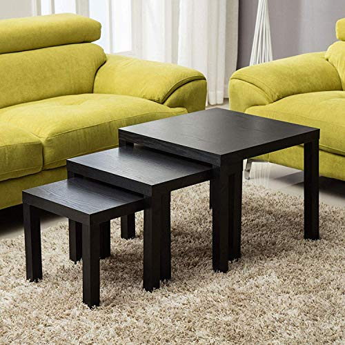 mecor Black Nesting Tables Coffe...