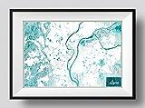 Lyon, France Conception de carte originale 'Blue Stroke' - Photo Poster Affiche Art Print Cadeau Map - Dimensioni: Dimensions: 60cm x 40cm