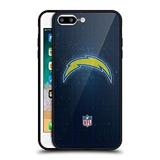 Head Case Designs Offizielle NFL LED 2017/18 Los Angeles Chargers Schwarz Rückseiten Hülle aus Hybrid Glass für iPhone 7 Plus/iPhone 8 Plus