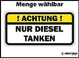 Finest-Folia UG 1 X ! Achtung ! Nur Diesel TANKEN Aufkleber Tankdeckel Warnung PKW Kraftstoff Tank