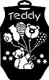 YART Schablone Teddy 29x18cm Bär Teddybär Ballons Sterne Baby Strampler Kind schablonieren Textilschablone Motiv Kunststoff