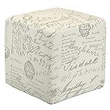 Cortesi Home CH-OT258670 Braque Cube Ottoman in Linen Script Print Fabic, Beige