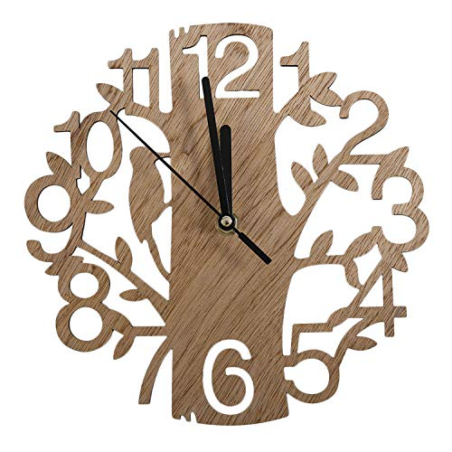 Modern Chic Vintage Design Stille Digital Woodpecker Holz Wanduhr Home Wohnzimmer Kaffee Shop Dekoration