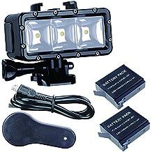 SupTig impermeable luz de alta potencia regulable doble recargable impermeable LED luz de vídeo Fill noche luz buceo bajo el agua Luz para GoPro Hero 6Hero 5Hero 4Hero 3+ Hero 3período de sesiones y SJCAM o Xiaoyi