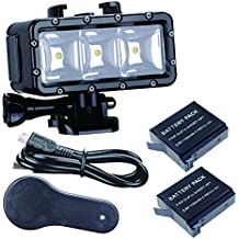 Suptig Luz LED impermeable de alta potencia, regulable, doble batería, resistente al agua, luz de vídeo, luz nocturna, luz submarina, para GoPro Hero 6 Hero 5 Hero 4 Hero 3+ Hero 3 Session y SJCAM o Xiaoyi