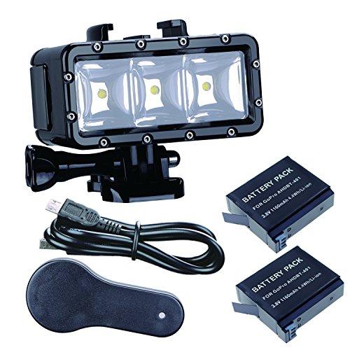 Suptig Lampe de plongée étanche avec double batterie et LED puissantes pour caméra Gopro Hero 6, Hero 5, Hero 4, Hero 3+, Hero 3, Session, SJCAM ou Xiaoyi