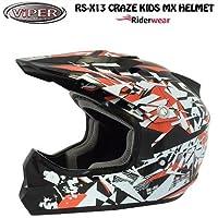 New Kids motocross casco RS pazzi x13Junior moto Quad ATV ACU ECE approvato on e off Road casco in nero/rosso (grande)