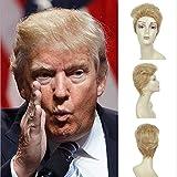 JUKUB Donald Trump Perücke Gold Perücke Kurze Glatte Haare, Cosplay Kostüm Party Haarteil