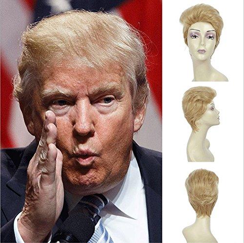 Wig Donald Kostüm Trump - JUKUB Donald Trump Perücke Gold Perücke Kurze Glatte Haare, Cosplay Kostüm Party Haarteil