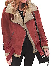 f4f423e917e7c4 Moonuy Frauen Kurzmantel Damen Winter Outwear Kunstpelz Fleece-Mantel Warm  Revers Biker Motor Aviator Jacke Fashion Windbreaker…
