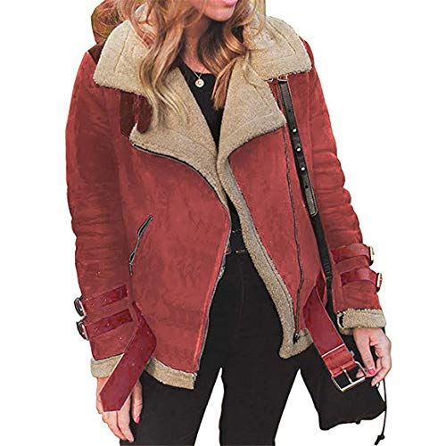 Moonuy Frauen Kurzmantel Damen Winter Outwear Kunstpelz Fleece-Mantel Warm Revers Biker Motor Aviator Jacke Fashion Windbreaker mit Taschen
