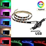 Cammate TV LED Backlight Strip - 1M 60leds RGB Bias Lighting with 20 Colors and 6 Dynamic Mode - Flexible USB LED Strip Lights for Flat Screen TV LCD, Desktop Monitors, Kitchen Cabinets