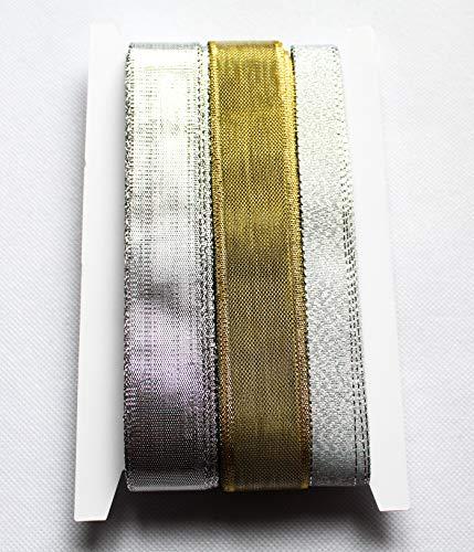 CaPiSo® Set 3 x 10 m Brokatband-Lurex Banda Purpurina