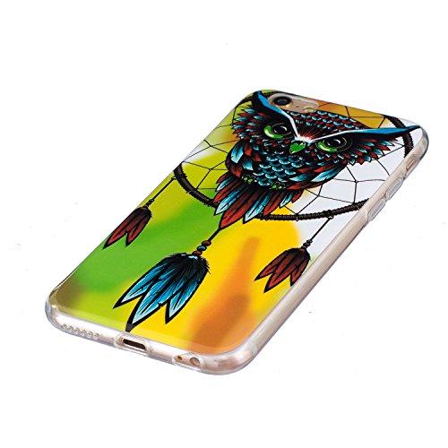 iPhone 6/6S 4.7 Custodia in Silicone Paraurti flessibile Casso Protettiva in TPU Copertura Pelle Shell per Apple iPhone 6/6S 4.7 case con unico Colorato Design Elegante Modello Stampato, Feeltech  Owl Dream Catcher