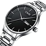CIVO Men Stainless Steel Watch Day Date Calendar Wrist Watches for Man Luxury Business Fashion Gents Watches Waterproof Dress Casual Minimalist Analogue Quartz Watch Black Dial with Link Remover 51a02O3ShxL
