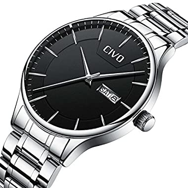 CIVO Men Stainless Steel Watch Day Date Calendar Wrist Watches for Man Luxury Business Fashion Gents Watches Waterproof…
