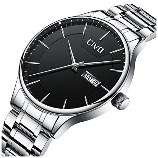 CIVO Men Stainless Steel Watch Day Date Calendar Wrist Watches for Man Luxury Business Fashion Gents Watches Waterproof Dress Casual Minimalist Analogue Quartz Watch Black Dial with Link Remover