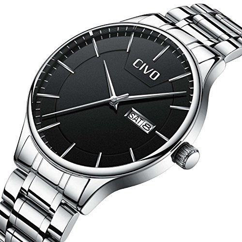 - 51a02O3ShxL - CIVO Men Stainless Steel Watch Day Date Calendar Wrist Watches for Man Luxury Business Fashion Gents Watches Waterproof Dress Casual Minimalist Analogue Quartz Watch Black Dial with Link Remover