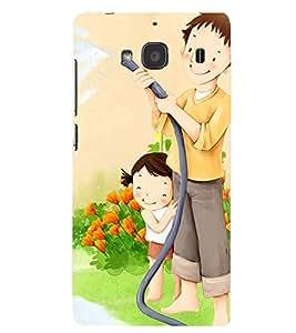 Printvisa Premium Back Cover Father Daughter Gardening Design for Xiaomi Redmi 2S::Xiaomi Redmi 2::Xiaomi Redmi 2 Prime