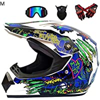 Casco de moto todoterreno para hombre con estampado impreso, casco integral de motocross, juego de casco de carreras con gafas, máscara y guantes para adultos, unisex