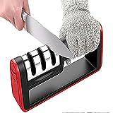 Didods Aiguiseur de couteau de cuisine, couteau de rasage en 3étapes kit d'affûtage Système de roue Acier réparation pour droites et couteaux Outil Professionnel